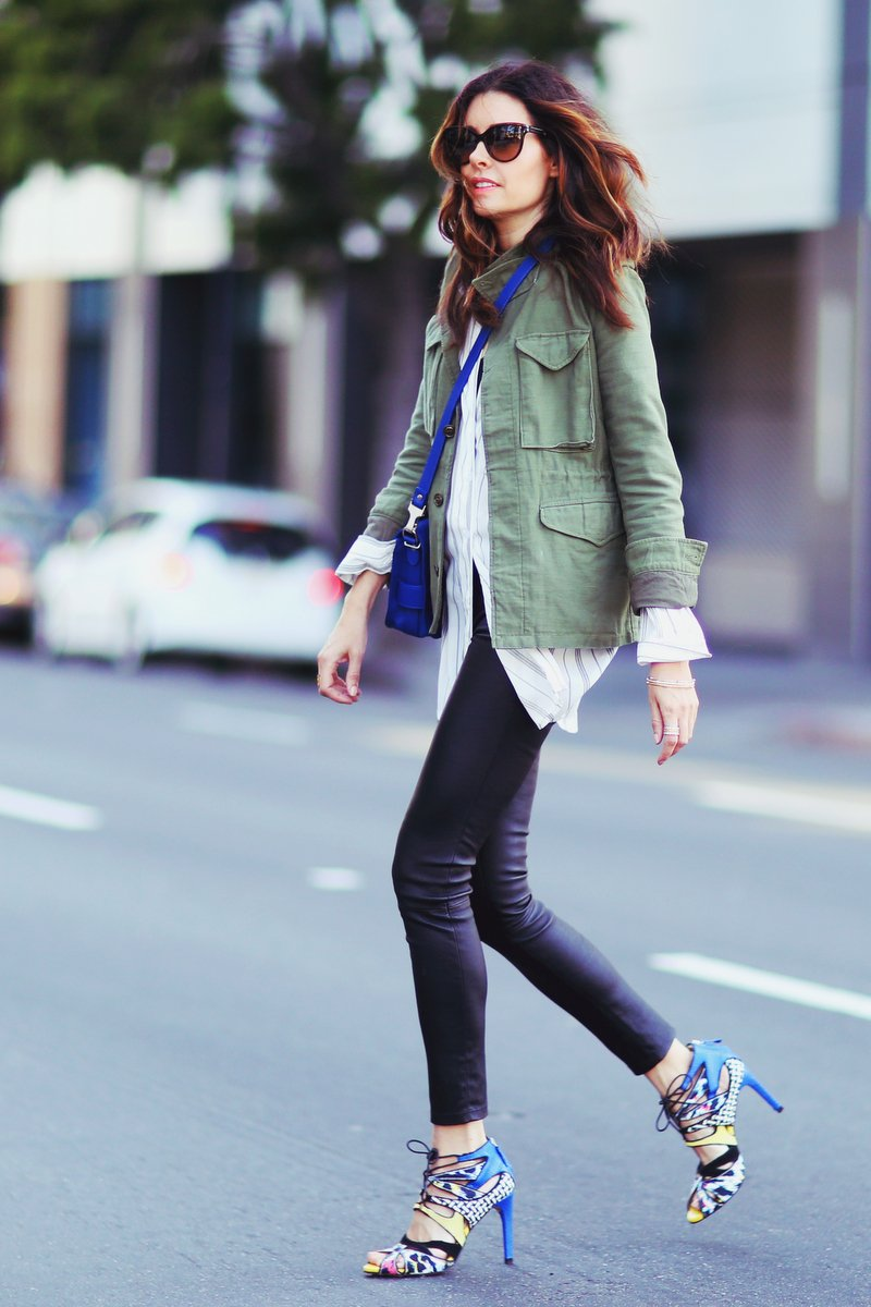 Military Trend Inspired Outfit: Erica Hoida is wearing an army green NLST jacket