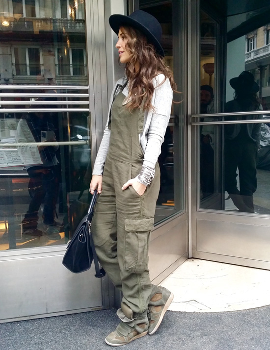 Military Trend: Paula Echevarria is wearing a military green Dunagaree's from Zara