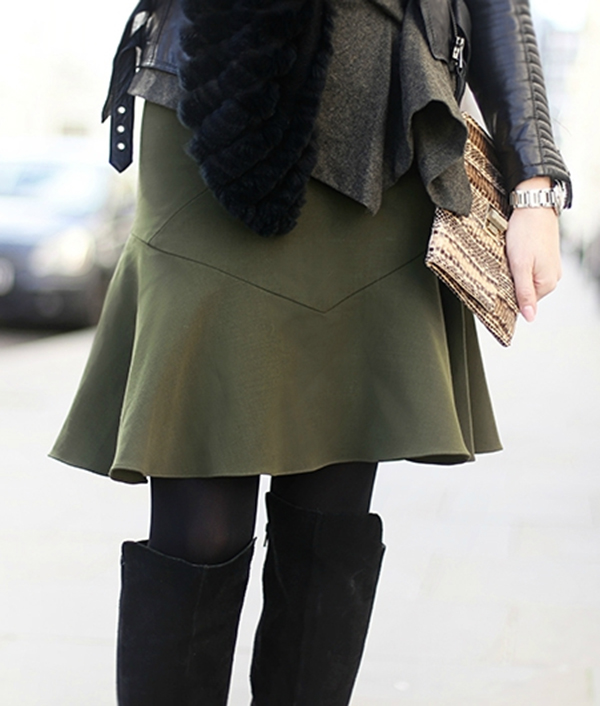 Military Trend: Celina is wearing an army green Prabal Gurung skirt